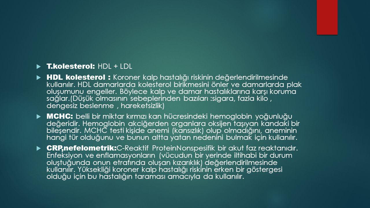 T.kolesterol: HDL + LDL