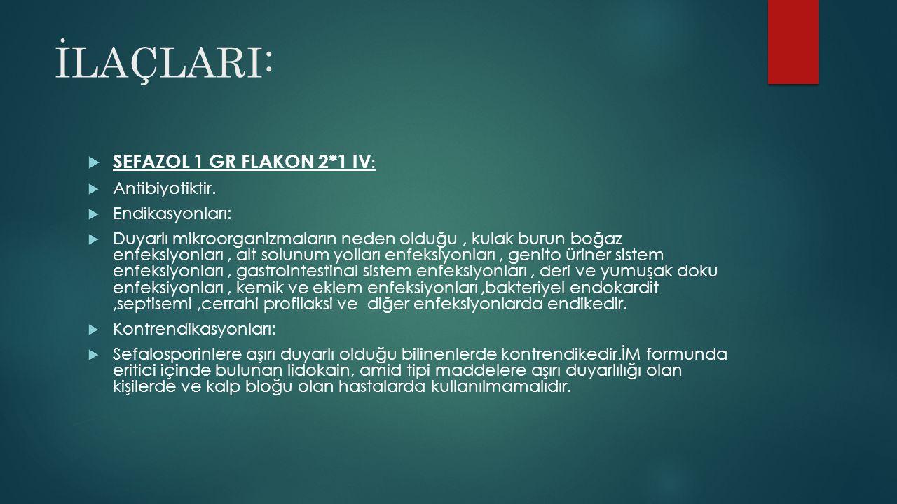 İLAÇLARI: SEFAZOL 1 GR FLAKON 2*1 IV: Antibiyotiktir. Endikasyonları: