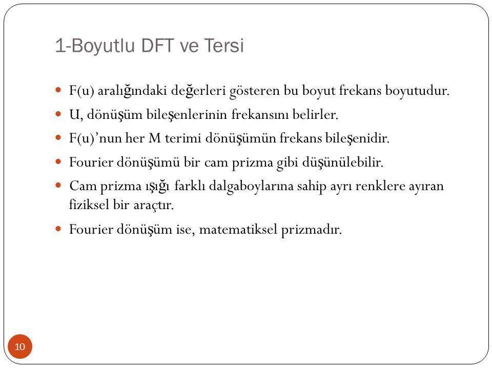 1-Boyutlu DFT ve Tersi F(u) aralığındaki değerleri gösteren bu boyut frekans boyutudur. U, dönüşüm bileşenlerinin frekansını belirler.