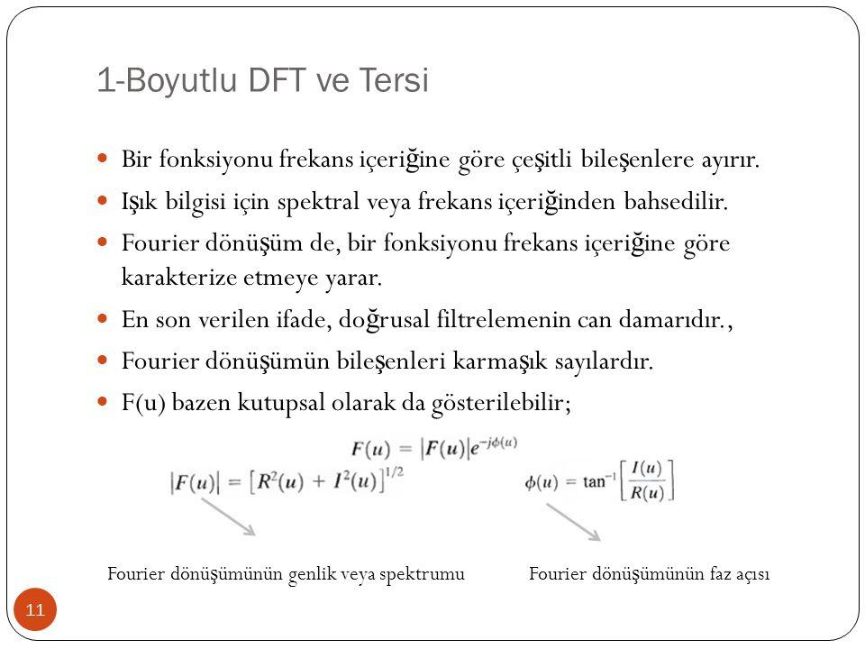 1-Boyutlu DFT ve Tersi Bir fonksiyonu frekans içeriğine göre çeşitli bileşenlere ayırır.