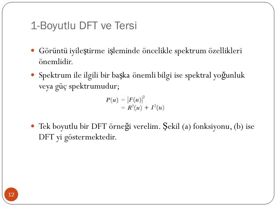 1-Boyutlu DFT ve Tersi Görüntü iyileştirme işleminde öncelikle spektrum özellikleri önemlidir.