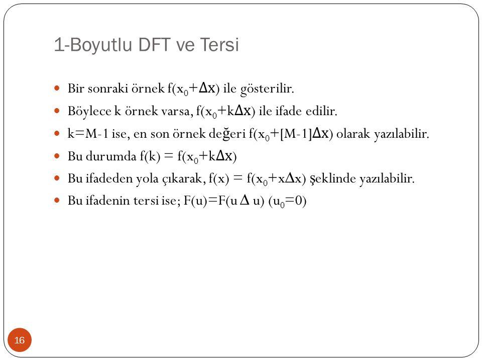 1-Boyutlu DFT ve Tersi Bir sonraki örnek f(x0+∆x) ile gösterilir.