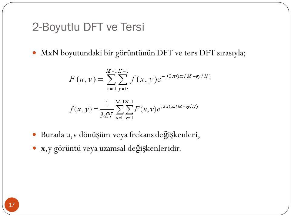 2-Boyutlu DFT ve Tersi MxN boyutundaki bir görüntünün DFT ve ters DFT sırasıyla; Burada u,v dönüşüm veya frekans değişkenleri,