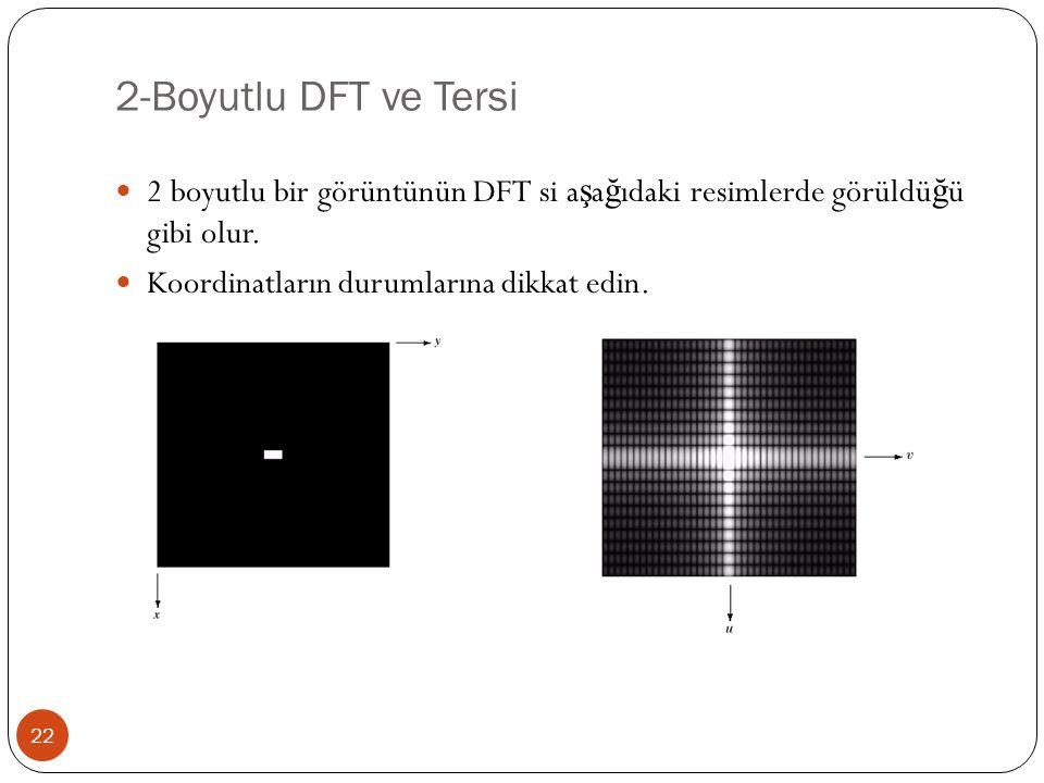 2-Boyutlu DFT ve Tersi 2 boyutlu bir görüntünün DFT si aşağıdaki resimlerde görüldüğü gibi olur.