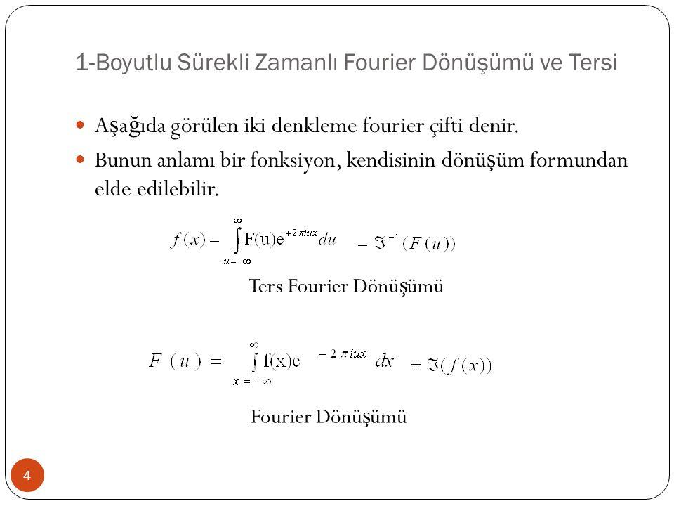 1-Boyutlu Sürekli Zamanlı Fourier Dönüşümü ve Tersi