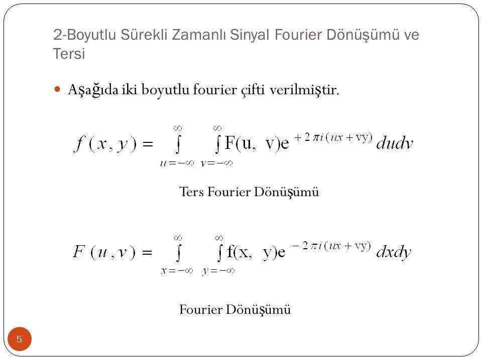 2-Boyutlu Sürekli Zamanlı Sinyal Fourier Dönüşümü ve Tersi