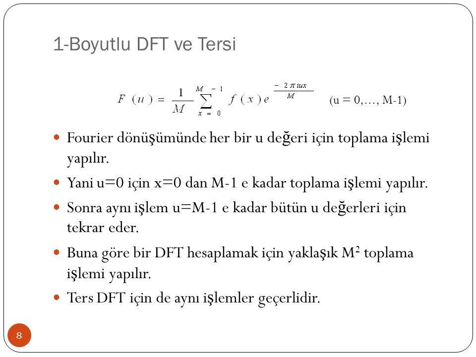 1-Boyutlu DFT ve Tersi Fourier dönüşümünde her bir u değeri için toplama işlemi yapılır. Yani u=0 için x=0 dan M-1 e kadar toplama işlemi yapılır.