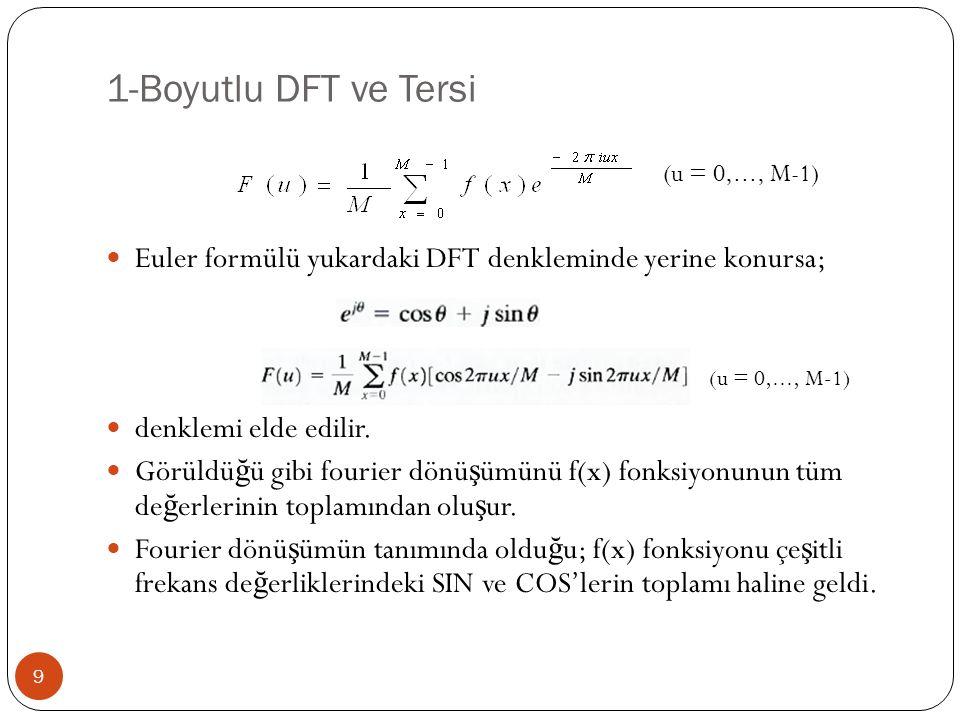 1-Boyutlu DFT ve Tersi Euler formülü yukardaki DFT denkleminde yerine konursa; denklemi elde edilir.