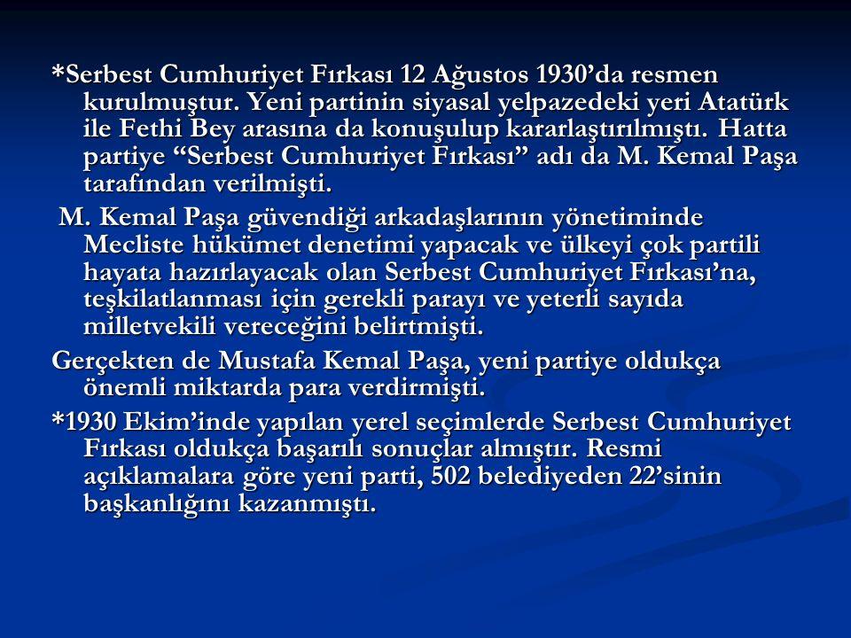 Serbest Cumhuriyet Fırkası 12 Ağustos 1930'da resmen kurulmuştur