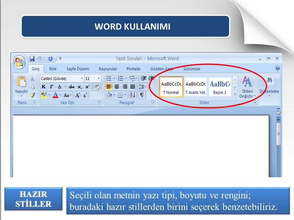 WORD KULLANIMI HAZIR STİLLER.