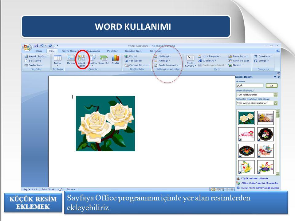 WORD KULLANIMI Sayfaya Office programının içinde yer alan resimlerden ekleyebiliriz.