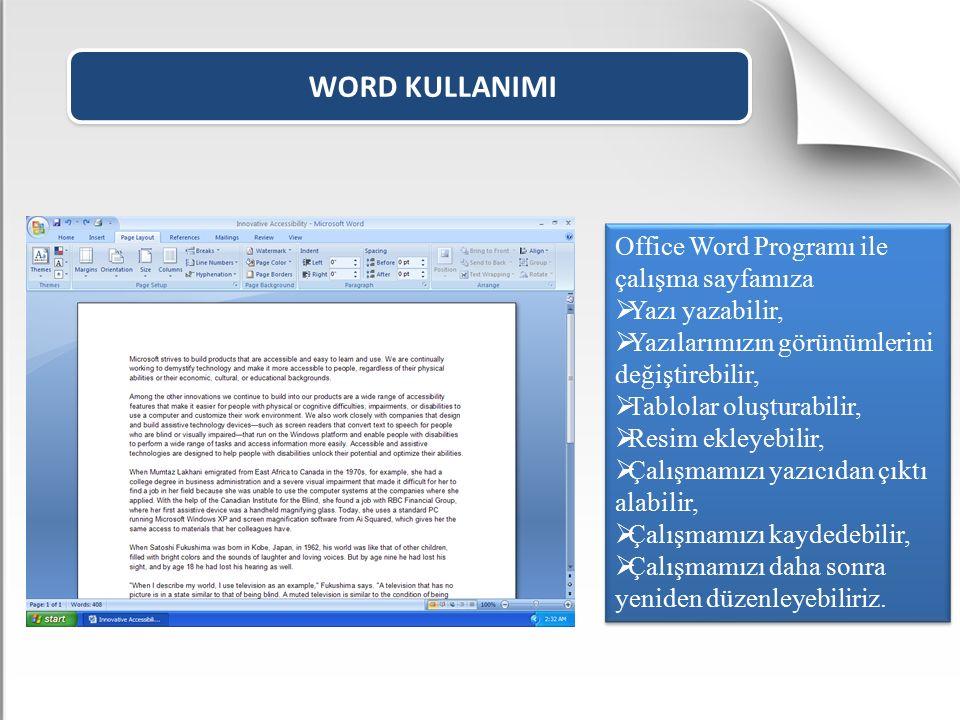 WORD KULLANIMI Office Word Programı ile çalışma sayfamıza