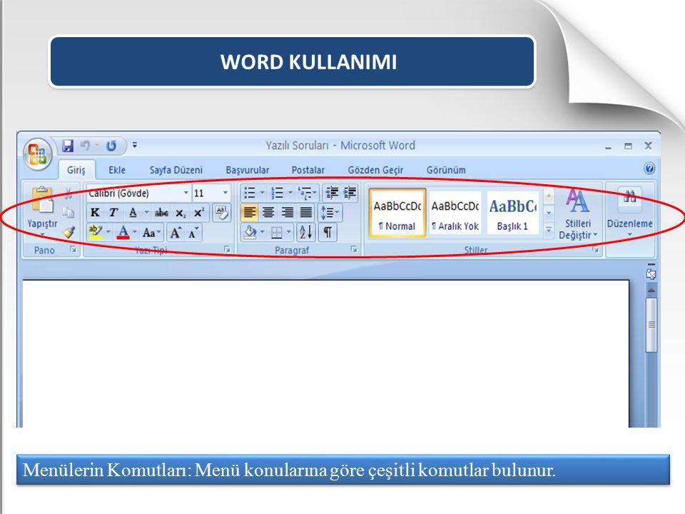 WORD KULLANIMI Menülerin Komutları: Menü konularına göre çeşitli komutlar bulunur.