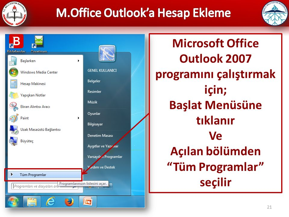M.Office Outlook'a Hesap Ekleme