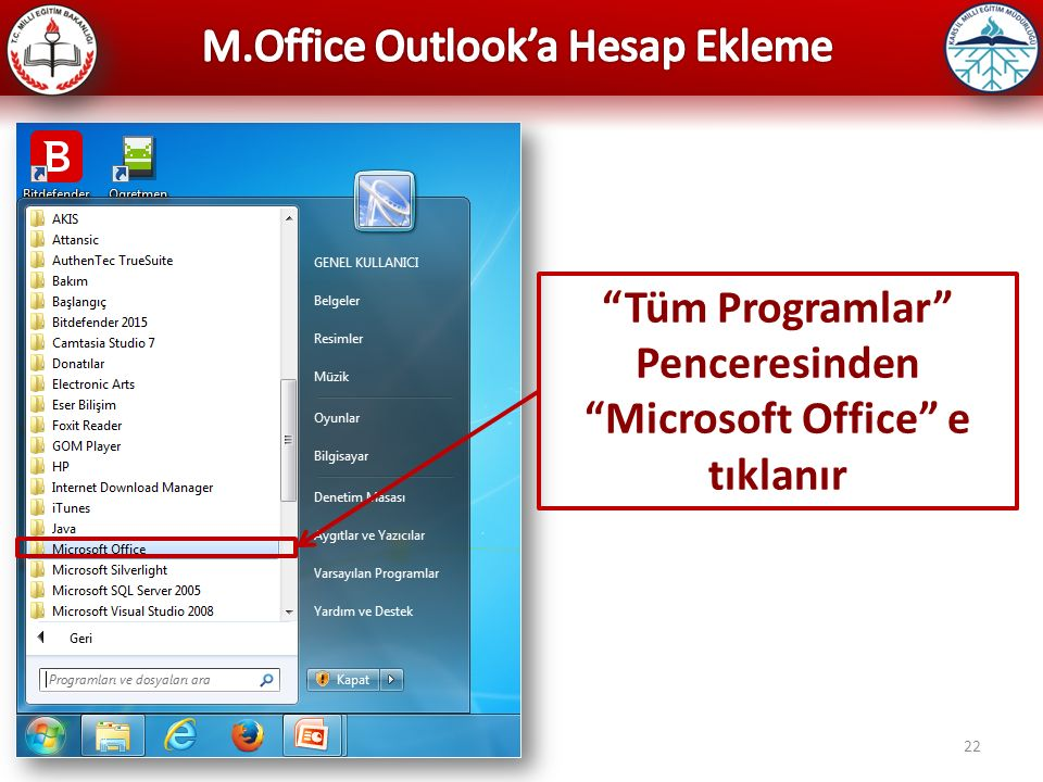Microsoft Office e tıklanır