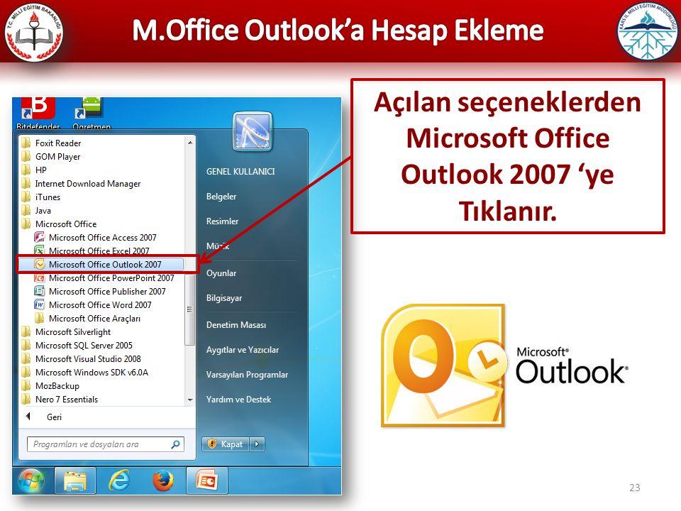 Microsoft Office Outlook 2007 'ye