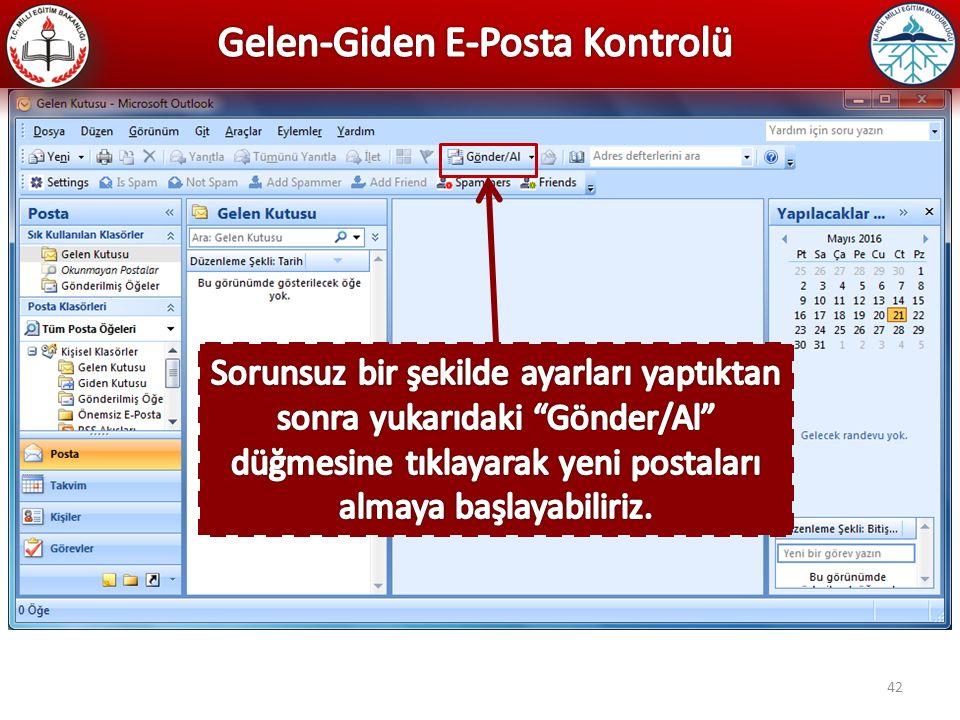 Gelen-Giden E-Posta Kontrolü