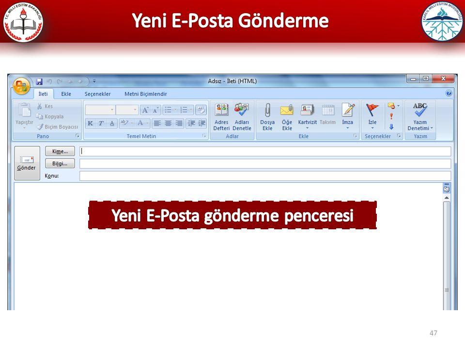 Yeni E-Posta gönderme penceresi