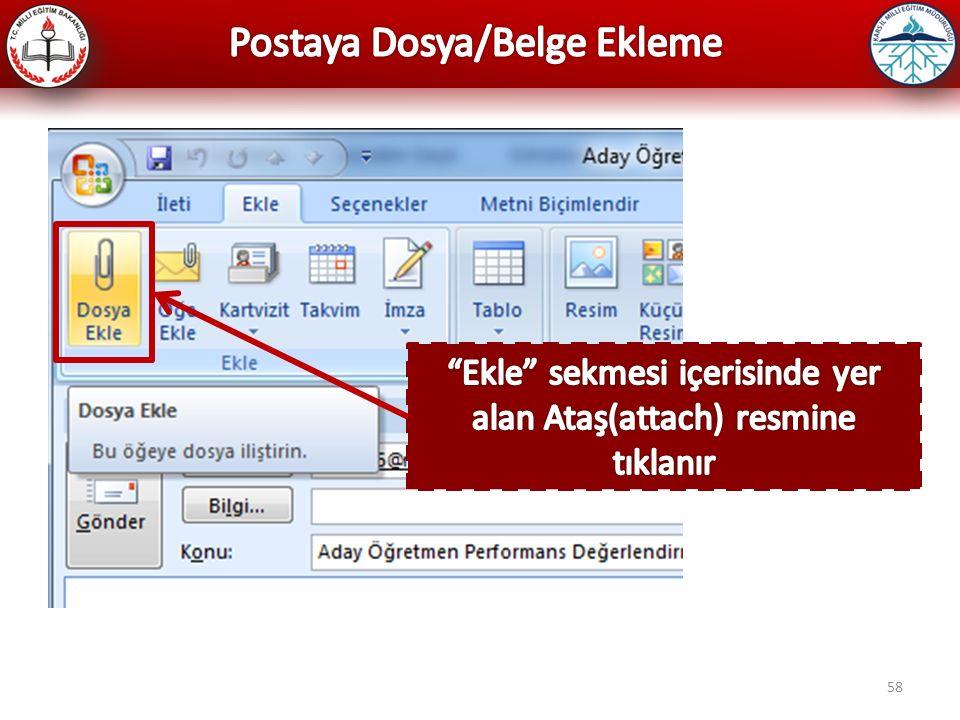 Postaya Dosya/Belge Ekleme