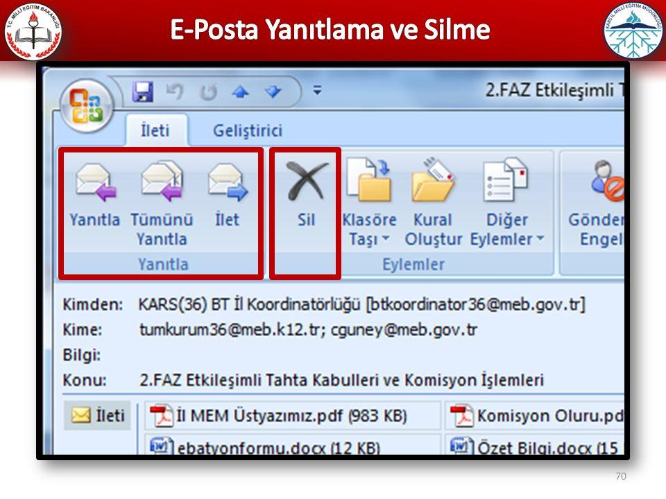 E-Posta Yanıtlama ve Silme
