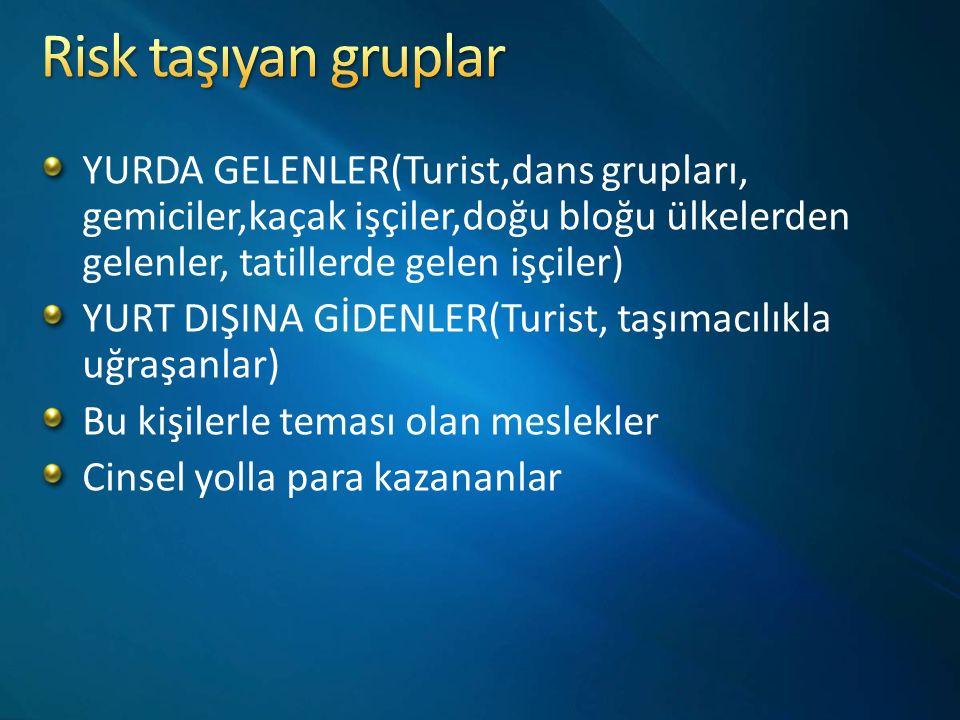 Risk taşıyan gruplar YURDA GELENLER(Turist,dans grupları, gemiciler,kaçak işçiler,doğu bloğu ülkelerden gelenler, tatillerde gelen işçiler)