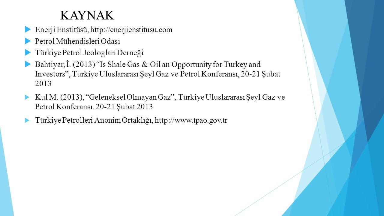 KAYNAK Enerji Enstitüsü, http://enerjienstitusu.com. Petrol Mühendisleri Odası. Türkiye Petrol Jeologları Derneği.