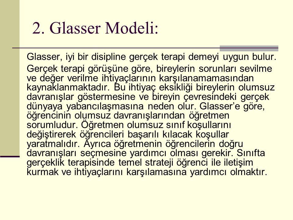 2. Glasser Modeli: Glasser, iyi bir disipline gerçek terapi demeyi uygun bulur.