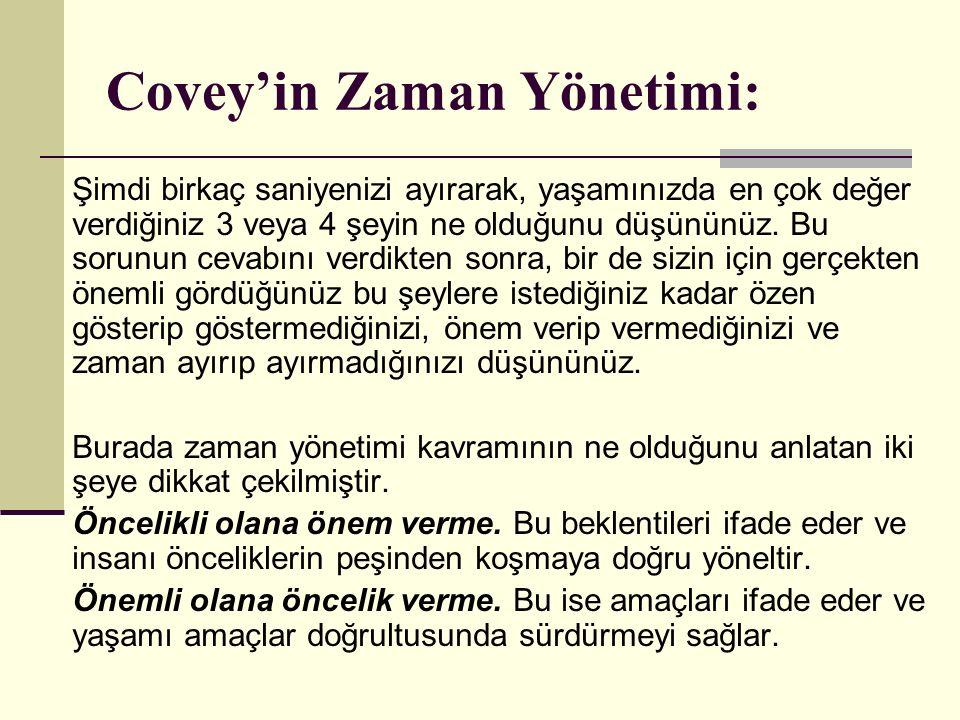 Covey'in Zaman Yönetimi:
