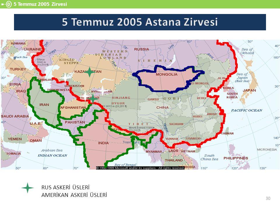 5 Temmuz 2005 Astana Zirvesi RUS ASKERİ ÜSLERİ AMERİKAN ASKERİ ÜSLERİ