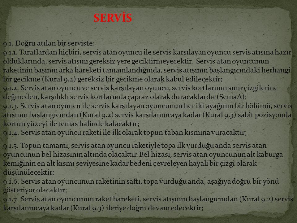 SERVİS 9.1. Doğru atılan bir serviste: