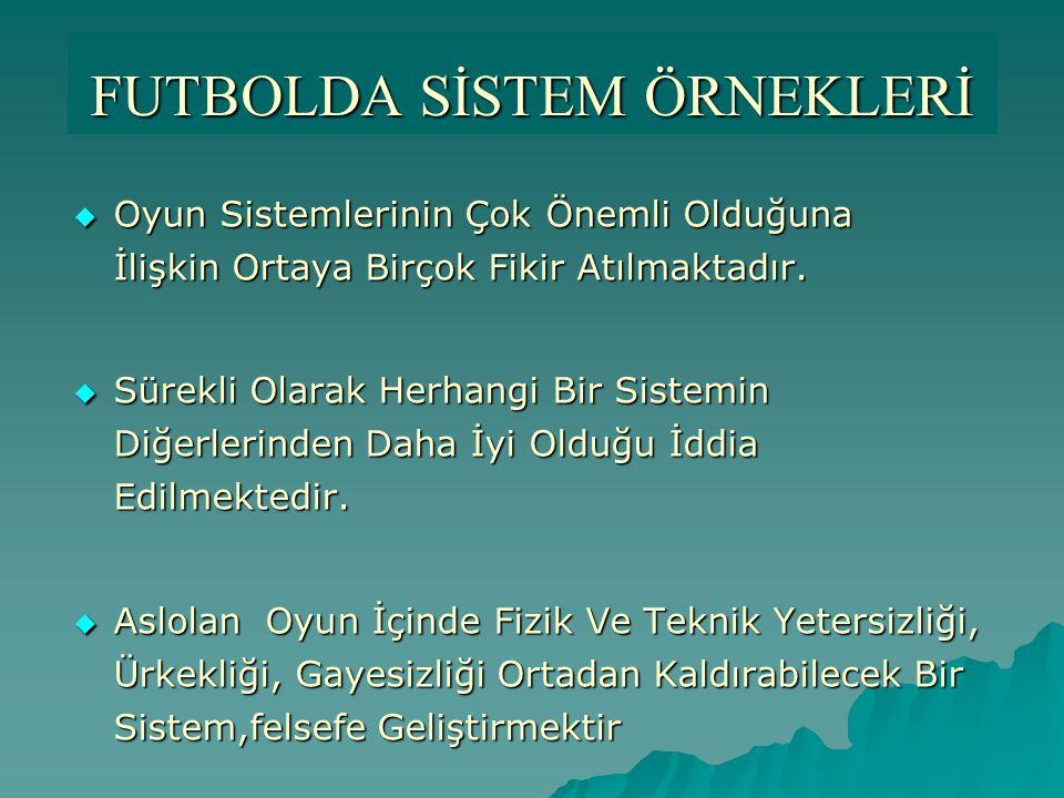 FUTBOLDA SİSTEM ÖRNEKLERİ