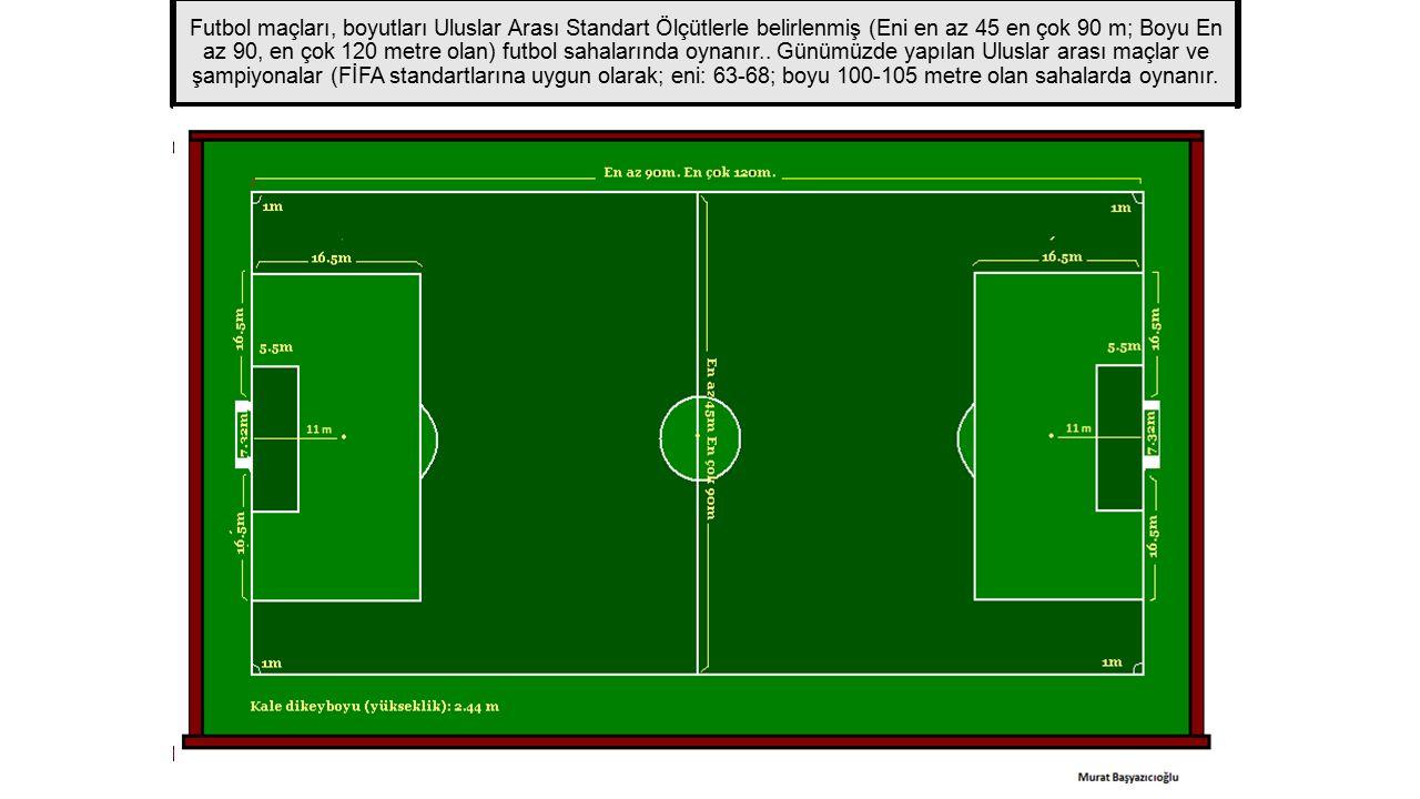 Futbol maçları, boyutları Uluslar Arası Standart Ölçütlerle belirlenmiş (Eni en az 45 en çok 90 m; Boyu En az 90, en çok 120 metre olan) futbol sahalarında oynanır..
