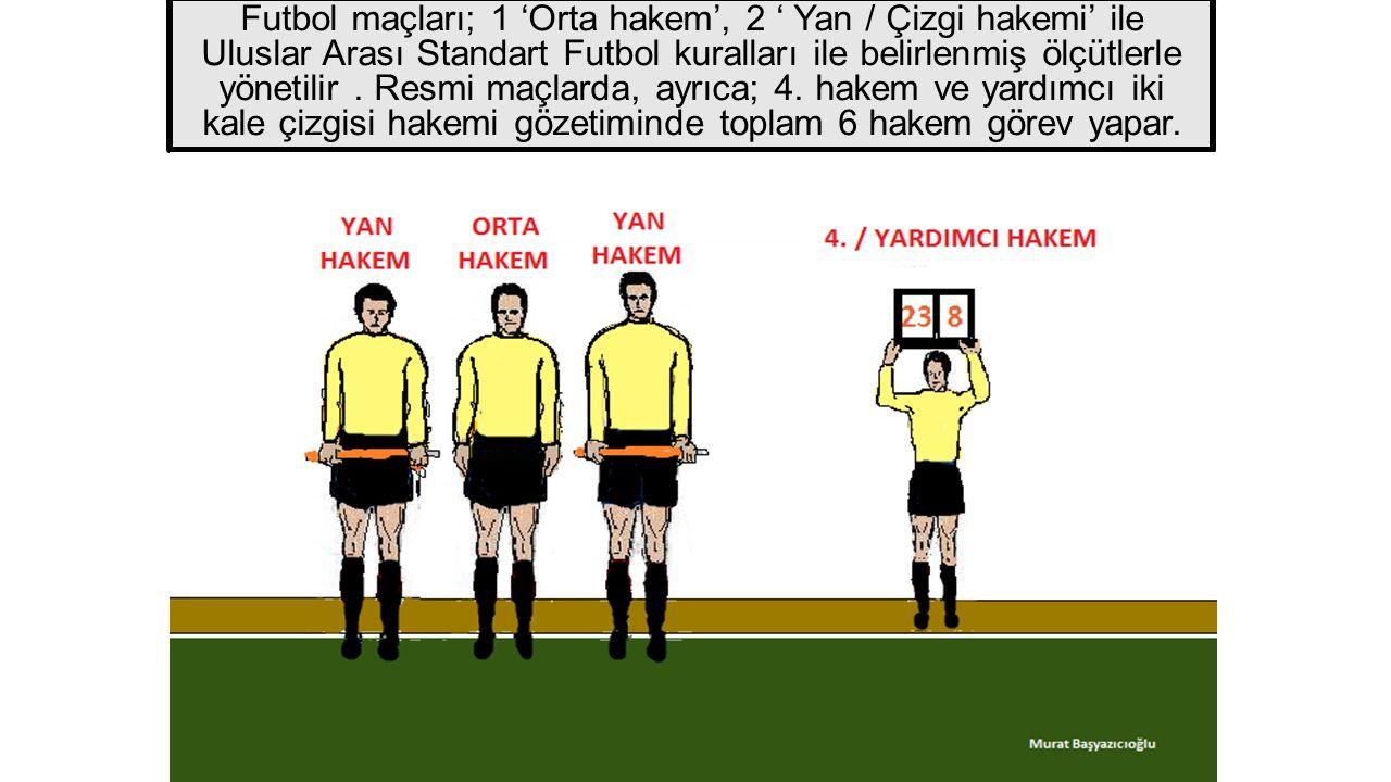 Futbol maçları; 1 'Orta hakem', 2 ' Yan / Çizgi hakemi' ile Uluslar Arası Standart Futbol kuralları ile belirlenmiş ölçütlerle yönetilir .