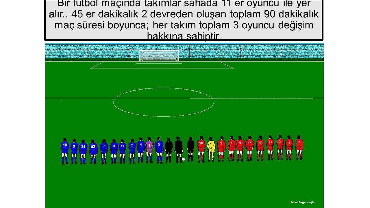 Bir futbol maçında takımlar sahada 11 er oyuncu ile yer alır