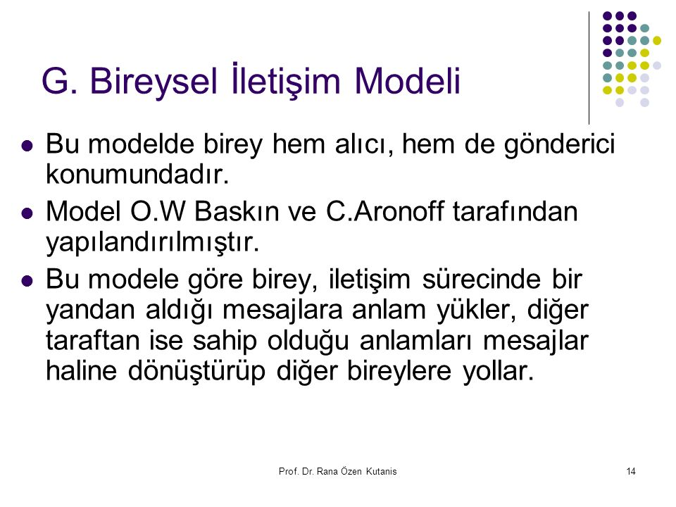 G. Bireysel İletişim Modeli