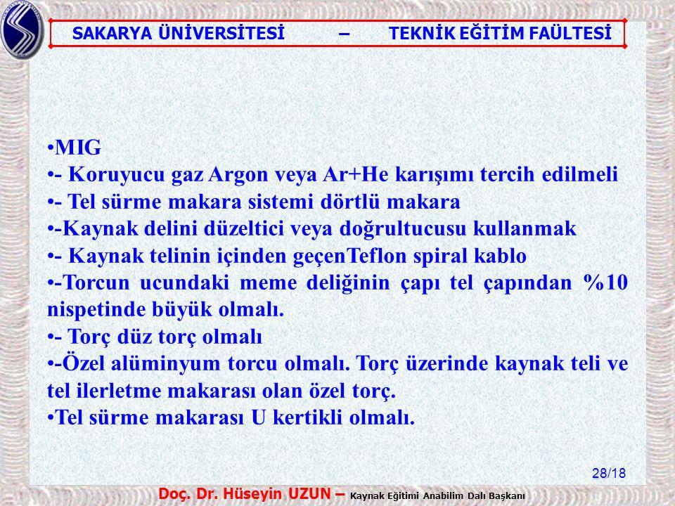 MIG - Koruyucu gaz Argon veya Ar+He karışımı tercih edilmeli. - Tel sürme makara sistemi dörtlü makara.