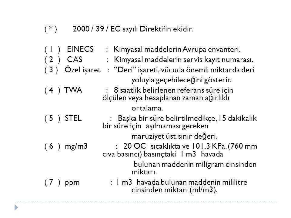 ( * ) 2000 / 39 / EC sayılı Direktifin ekidir.