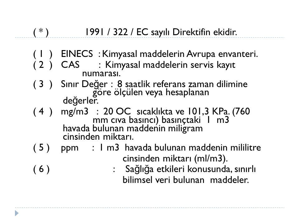 (. ) 1991 / 322 / EC sayılı Direktifin ekidir
