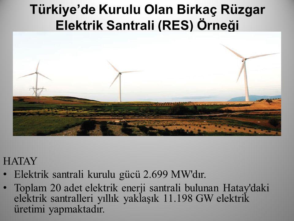 Türkiye'de Kurulu Olan Birkaç Rüzgar Elektrik Santrali (RES) Örneği