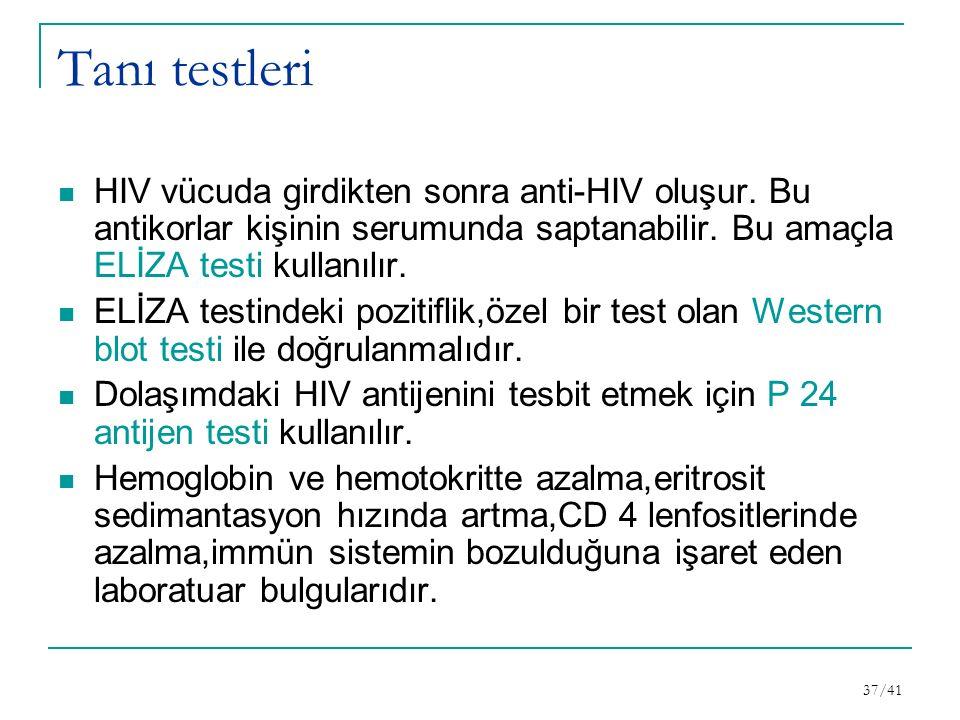 Tanı testleri HIV vücuda girdikten sonra anti-HIV oluşur. Bu antikorlar kişinin serumunda saptanabilir. Bu amaçla ELİZA testi kullanılır.