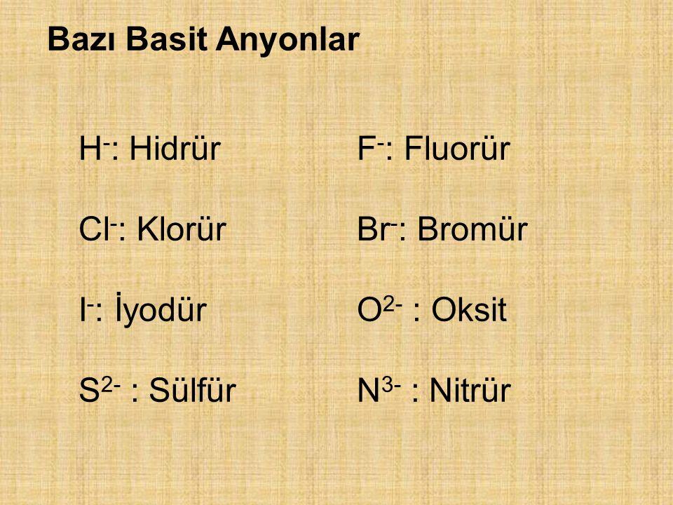 Bazı Basit Anyonlar H-: Hidrür F-: Fluorür. Cl-: Klorür Br-: Bromür. I-: İyodür O2- : Oksit.
