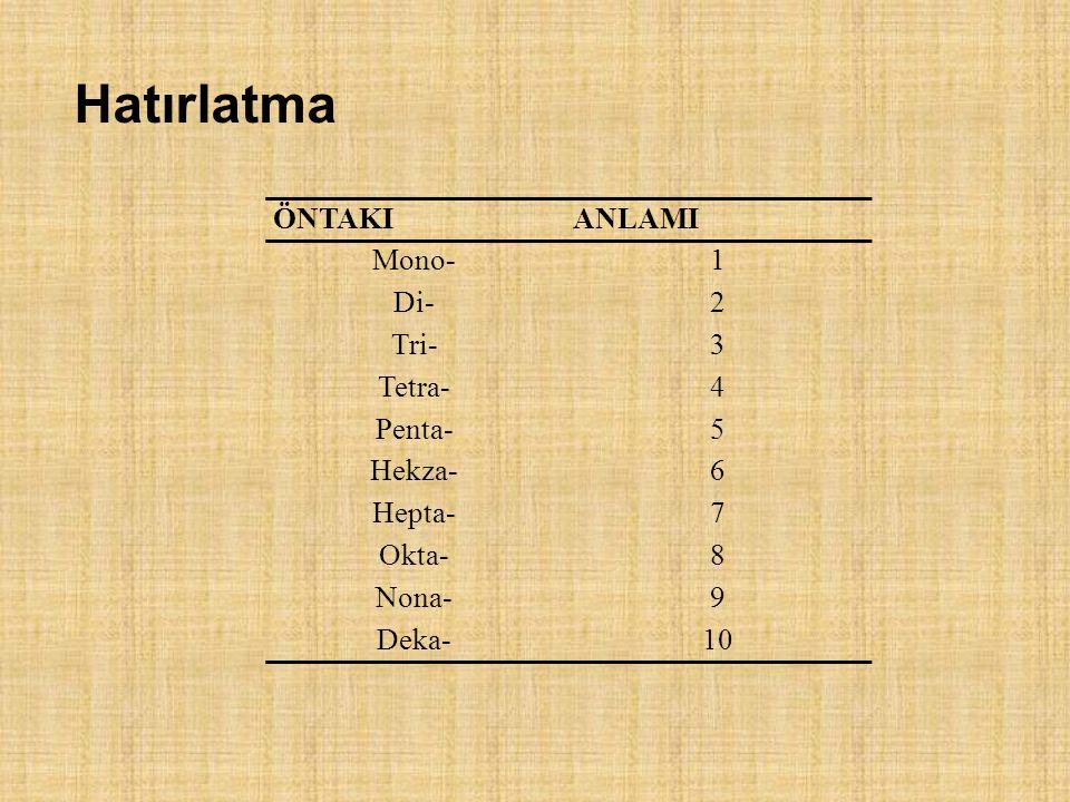 Hatırlatma ÖNTAKI ANLAMI Mono- 1 Di- 2 Tri- 3 Tetra- 4 Penta- 5 Hekza-
