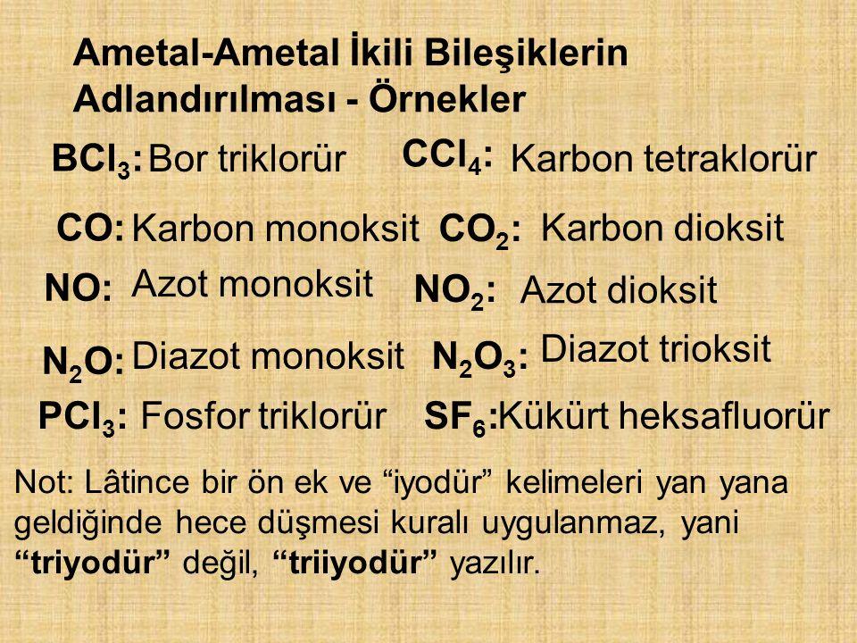 Ametal-Ametal İkili Bileşiklerin Adlandırılması - Örnekler