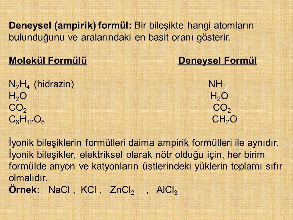 Deneysel (ampirik) formül: Bir bileşikte hangi atomların bulunduğunu ve aralarındaki en basit oranı gösterir.