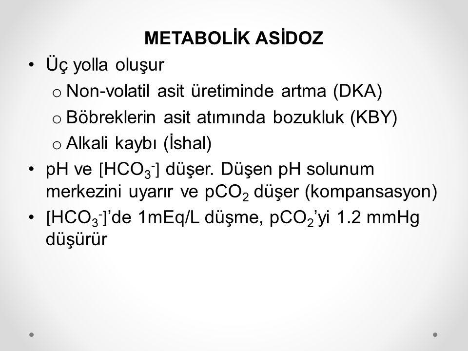 METABOLİK ASİDOZ Üç yolla oluşur. Non-volatil asit üretiminde artma (DKA) Böbreklerin asit atımında bozukluk (KBY)