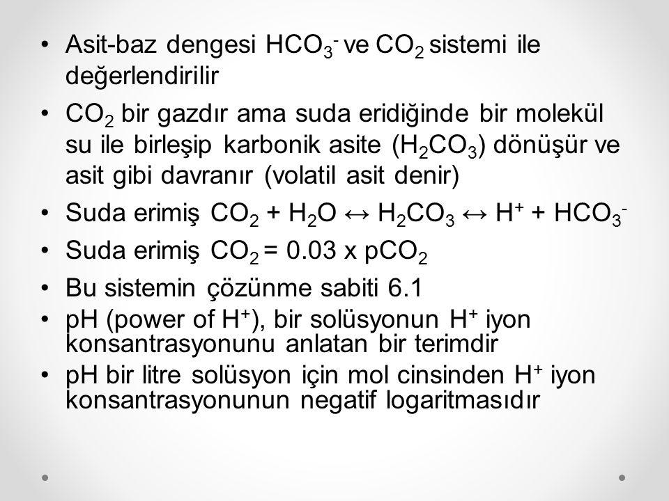 Asit-baz dengesi HCO3- ve CO2 sistemi ile değerlendirilir