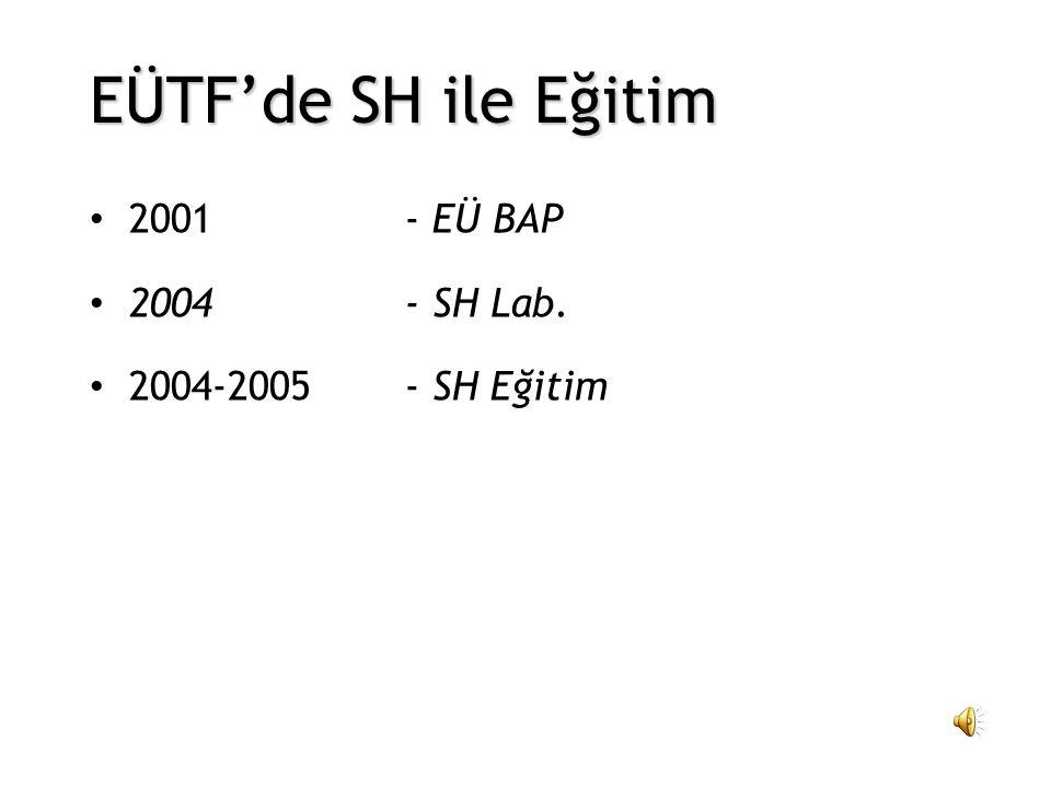 EÜTF'de SH ile Eğitim 2001 - EÜ BAP 2004 - SH Lab.