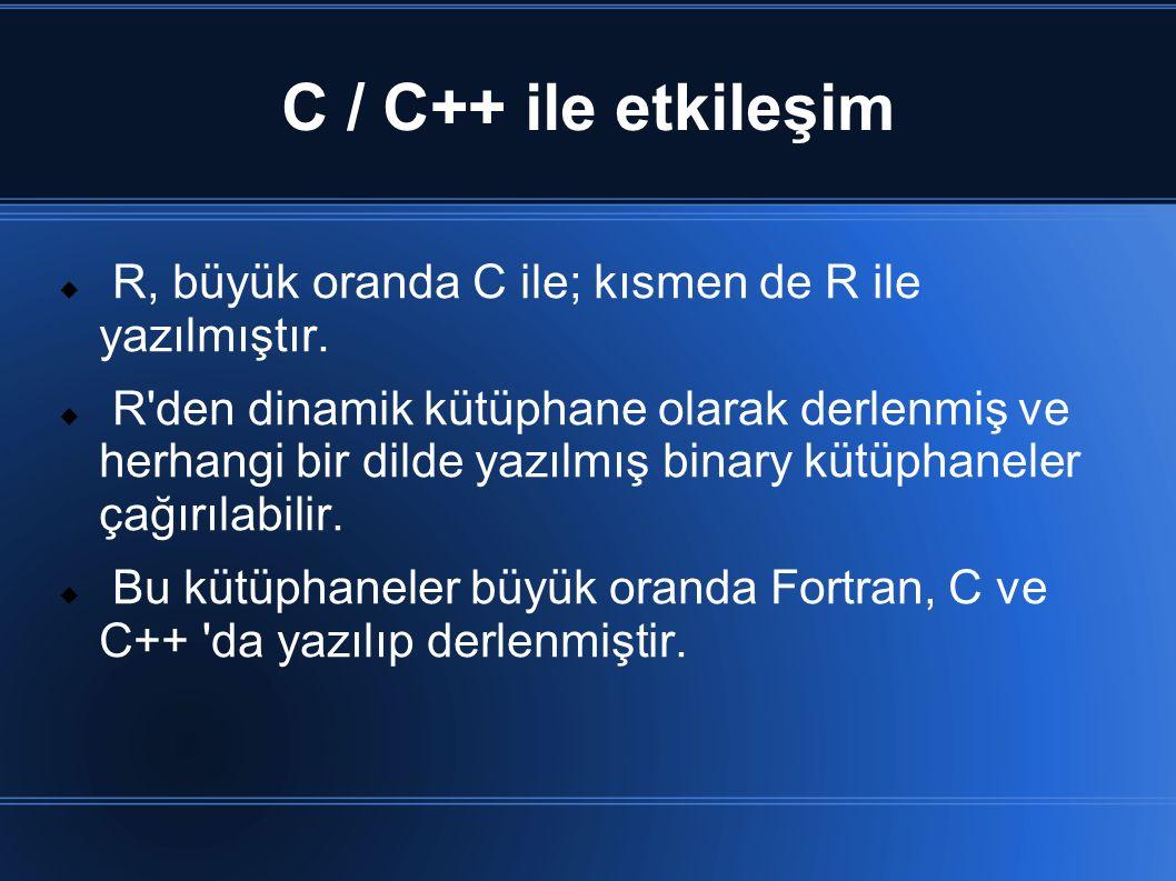 C / C++ ile etkileşim R, büyük oranda C ile; kısmen de R ile yazılmıştır.