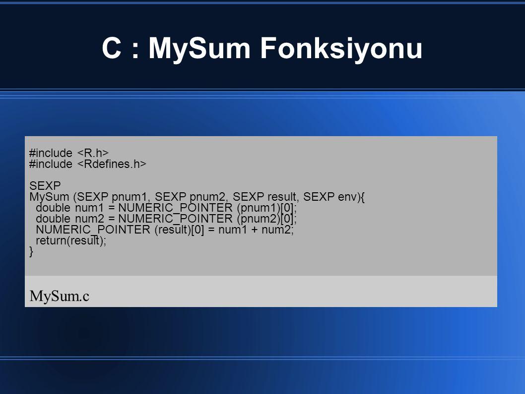 C : MySum Fonksiyonu MySum.c #include <R.h>