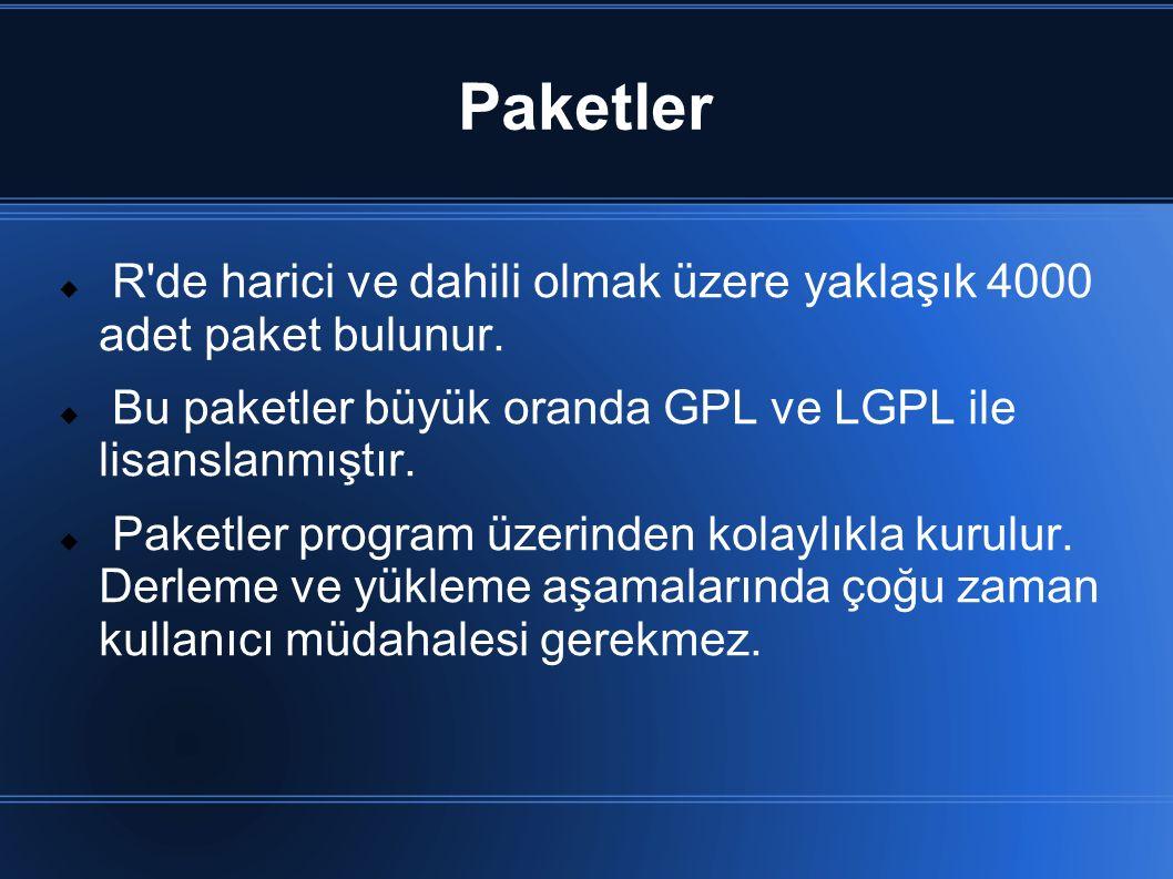 Paketler R de harici ve dahili olmak üzere yaklaşık 4000 adet paket bulunur. Bu paketler büyük oranda GPL ve LGPL ile lisanslanmıştır.